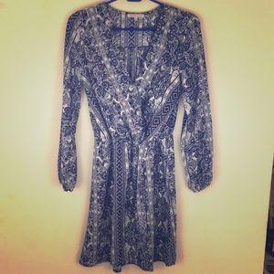 Fun blue and white paisley dress